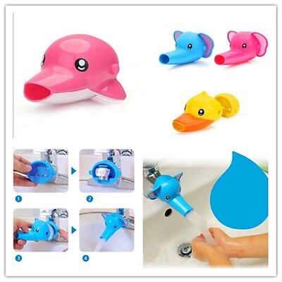 Bathroom Sink Faucet Extender Cute Yellow Duck For Children Kid Washing Hands-