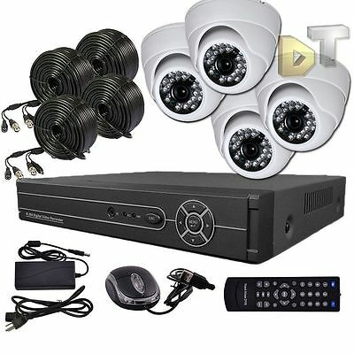 DNT 4 CH Channel Home Video Surveillance DVR 4 White Dome Camera Security System