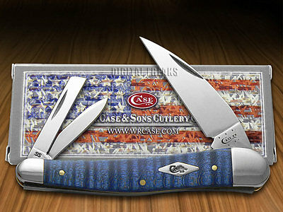 CASE XX Blue Curly Maple Wood Seahorse Whittler Stainless Pocket Knife Knives