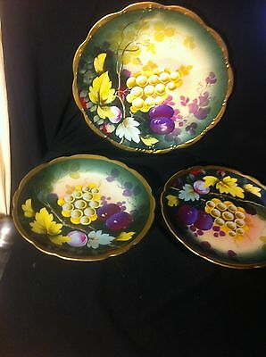 3 Hand Painted Signed Toivrier Gold Encrusted Grape Fruit Plates Royal Vienna