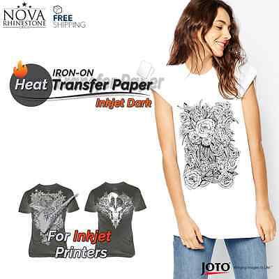 "New Inkjet Iron-On Heat Transfer Paper, For Dark fabric, 10 Sheets - 8.5"" x 11"""
