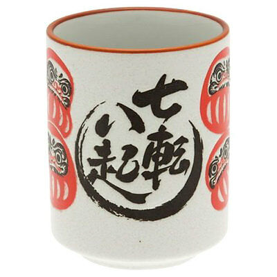 "Japanese Tea Sushi Cup Daruma ""Fall seven times, stand up eight."" Made in Japan"
