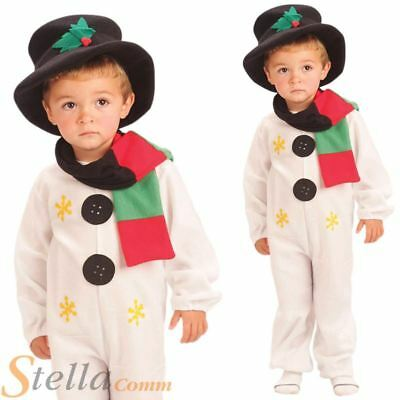 Child Snowman Costume Christmas Frosty Fancy Dress Jumpsuit Boys Outfit