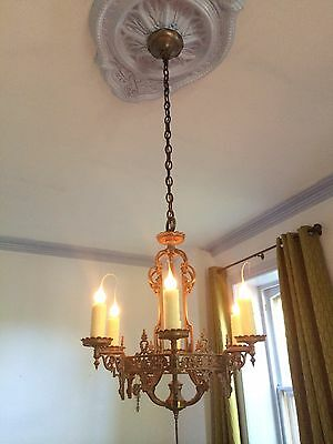 Beautiful Antique Vintage Solid Brass Chandelier & Sconces