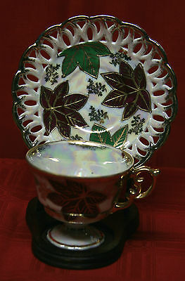 BEAUTIFUL Fan Crest Fine China Japan Cup Saucer Hand Painted 2650