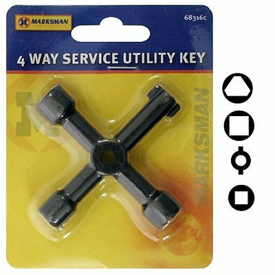 Brand New Metal 4 Way Service Utility Key For Gas Electric Meter Cabinets Key