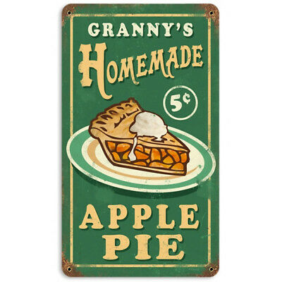 Granny's Homemade Apple Pie Metal Sign Green Vintage Kitchen Bakery Decor 8 x 14