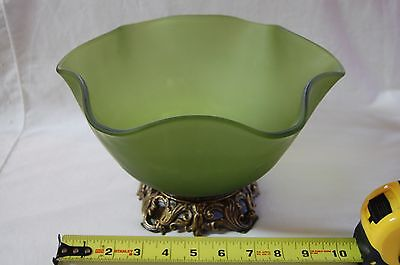 Antique Frosted Green Glass Compote with Brass Base