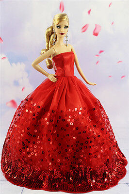 Fashion Princess Party Red Sequin Dress/Clothe Wedding Gown For 11.5in.Doll S-28