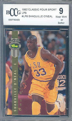 1992 classic four sport lp's #lp8 SHAQUILLE O'NEAL rookie BGS BCCG 9