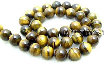 "SALE Big 10mm Round High quality natural tiger's-eye Beads strand 15""-los613"