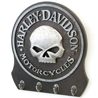 Harley-Davidson Skull Logo Key Rack 3-D Willie G Key Hook H-D Wall Decor