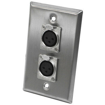 Seismic Audio - Stainless Steel Wall Plate - Dual XLR Female Connectors
