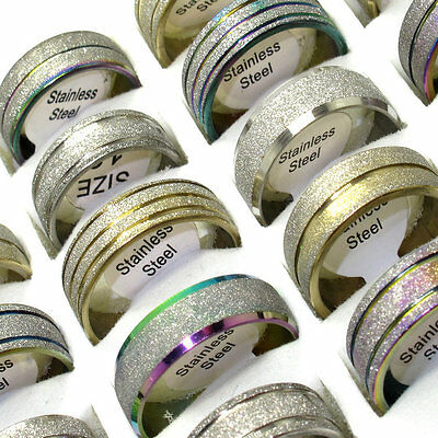 Wholesale jewelry lots 10pcs stainless steel Mix frosted lines Scrub ring BY96
