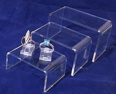 Set Of (3) Riser Showcase Display Trade Show Jewelry Displays Acrylic Riser Set