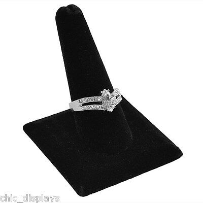 Square Based (1) Finger Display Black Velvet Jewelry Ring Display Showcase Stand