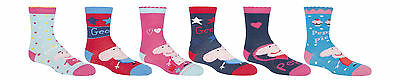 Peppa Pig 6 Pair Pack of George Cotton Rich Girls Boys Socks Size 6-8, 2-3 Years