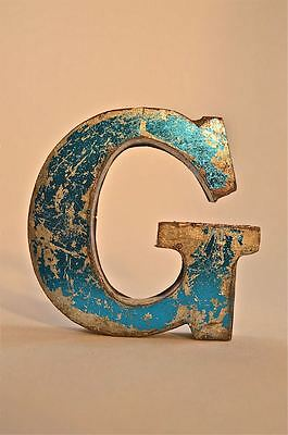 Fantastic Retro Vintage Style Blue 3D Metal Shop Sign Letter G Advertising Font