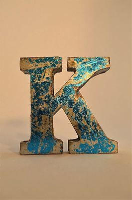 Fantastic Retro Vintage Style Blue 3D Metal Shop Sign Letter K Advertising Font