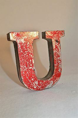 Fantastic Retro Vintage Style Red 3D Metal Shop Sign Letter U Advertising Font