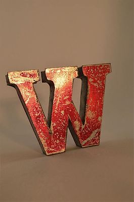 Fantastic Retro Vintage Style Red 3D Metal Shop Sign Letter W Advertising Font