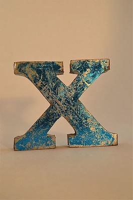 Fantastic Retro Vintage Style Blue 3D Metal Shop Sign Letter X Advertising Font