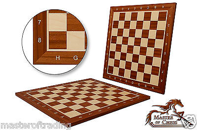 No 5 PRO WOODEN TOURNAMENT CHESS BOARD (5cm sq) 48x48cm MAHOGANY/SYCAMORE!