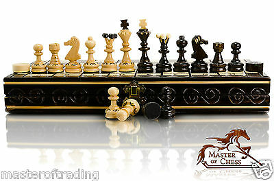 Excellent Wooden Chess and Draughts / Checkers Set 35 x 35cm - Burnt Design !!!