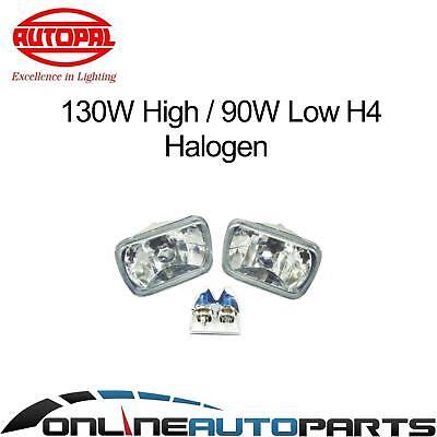 H4 Headlight Upgrade Kit Hilux Ute 83-05 2 Crystal Lamps Rectangle Hi Watt Globe