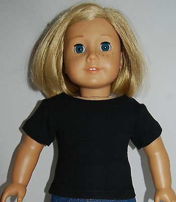 "Doll Clothes BLACK RIBBED KNIT TEE SHIRT fits 18/"" American Girl Dolls"