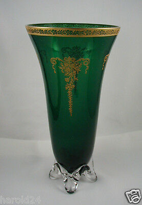 "Tiffin Killarney Green Vase w/Gold Encrusted Melrose Etch ""chip""- FREE SHIPPING!"