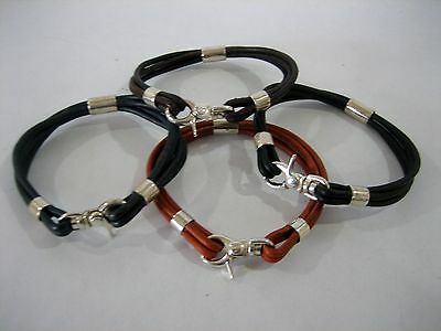 Sterling silver 925 bracelet with leather cord for men and women made in U.S.A.