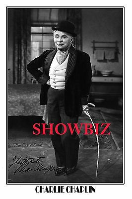 * Charlie Chaplin * Large Signed Autograph Poster Photo Print! Great Gift!