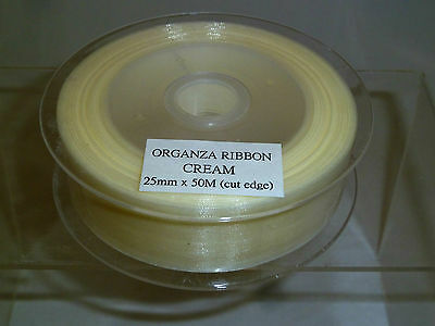 CREAM Organza Ribbon 25mm wide x 50 metres Long - Cut Edge