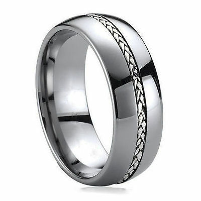 Tungsten Ring Silver Inlay Men's Wedding Band Titanium Color Size 7-13