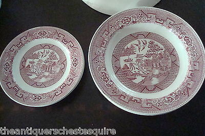 Homer Laughlin USA 2 soup and 3 bread plates , red transfer 5 pieces[4-58]