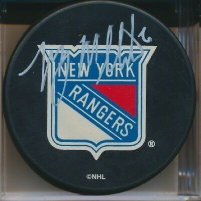 Manny Malhotra Autographed Signed New York Rangers Puck w/COA