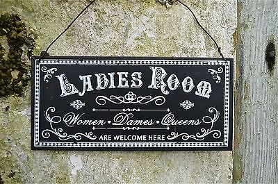 Vintage Style Metal Ladies Room Door Wall Sign Plaque Women Dames Queens Pp5