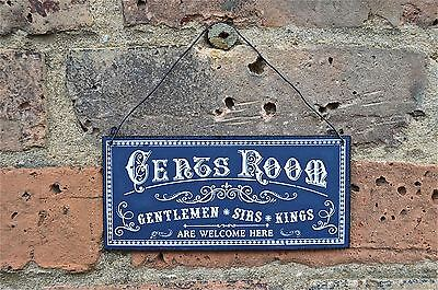 Vintage Style Metal Gents Room Door Wall Sign Plaque Gentlemen Sirs Kings Pp6