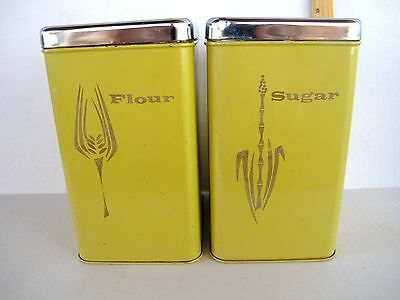 2 VTG 9X6X5 SQUARE MUSTARD YELLOW TIN CANISTERS SUGAR AND FLOUR GREAT GRAPHICS