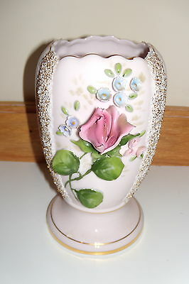 "Lefton 7"" Pink Procelain Vase/Applied Flowers, Roses (As Is)"