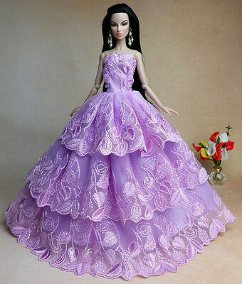 Purple Fashion Princess Party Dress/Clothes/Gown For Barbie Doll S-x23
