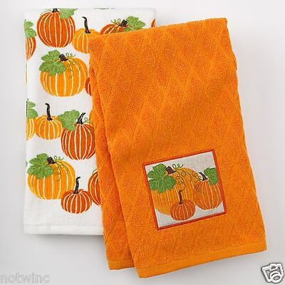 2 Croft & Barrow Kitchen Dish Towels Thanksgiving Day Pumpkins Harvest NWT