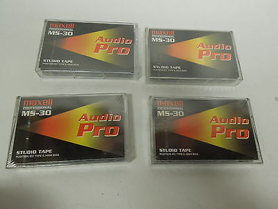 New Lot of 4 Maxell Pro MS-30 Audio Cassette Tape IEC Type II High Bias Studio
