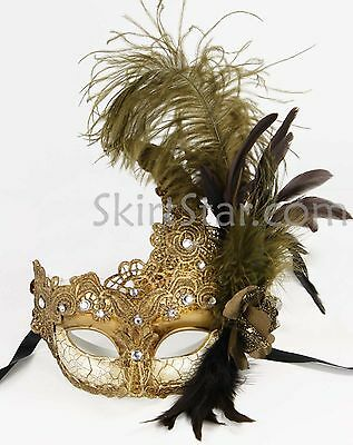 Venetian Mask Crystals Brown Masquerade Ball Brocade Fancy Costume Feather Prom