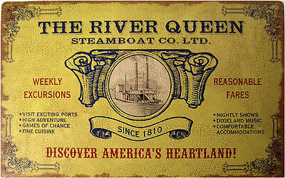 Rustic/Vintage The River Queen Steamboat Sailing Advertisement Tin Metal Sign