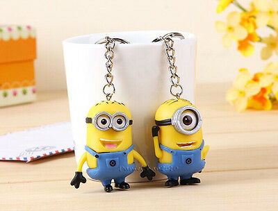 Set of 2 Minion Keychain Lovely Despicable Me2 3D Keyring Ornaments Gift Favors