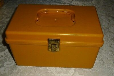 "VINTAGE WIL-HOLD 9 1/2"" X 5 1/2"" X 6""  GOLDEN COLORED SEWING BOX/ORGANIZER"