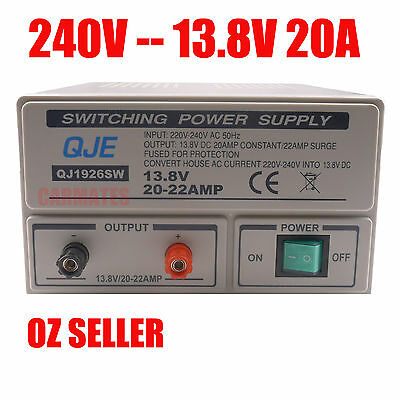 Switch Mode Power Supply 13.8V 12V 20A Ham Two Way Radio ELECTROPHONE car 240V
