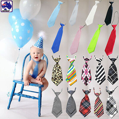 Kids Boy Girl Lady Solid Tie Stripe Check Satin Wedding Casual Necktie CKTIE